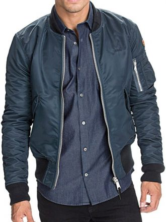Mens Faux Shearling Fur Denim Jacket Blue Front