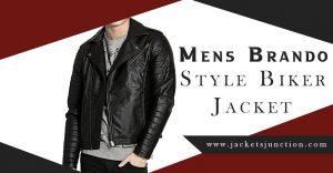 Mens Brando Style Biker Jacket