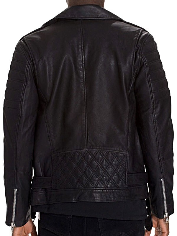 Mens Brando Style Terminator 2 Leather Jacket Black Back
