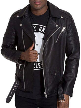 Mens Brando Style Terminator 2 Leather Jacket Black Front