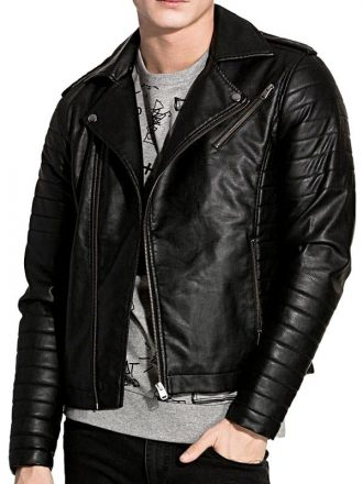D:\JacketsJunction_Images\Resize Images 600by800\Mens Brando Style Sheepskin Leather Biker Jacket Black Front