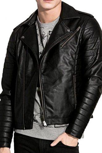 D:\JacketsJunction_Images\Resize Images 600by800\Mens Brando Style Sheepskin Leather Biker Jacket Black Front