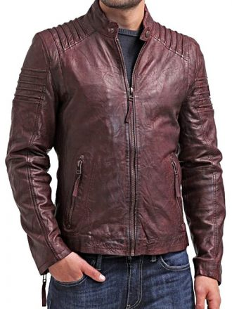 Mens Waxed Leather Cafe Racer Biker Jacket Copper Burgundy Back