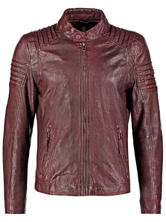 Mens Waxed Leather Cafe Racer Biker Jacket Copper Burgundy Front