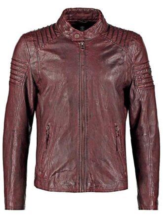 Mens Waxed Leather Cafe Racer Biker Jacket Copper Burgundy Front