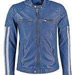 Mens Cafe Racer Leather Biker Jacket Blue with White Stripes Front