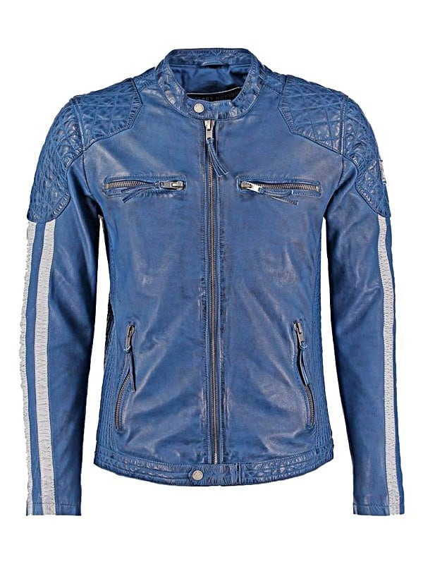 Mens Cafe Racer Leather Biker Jacket Blue with White Stripes