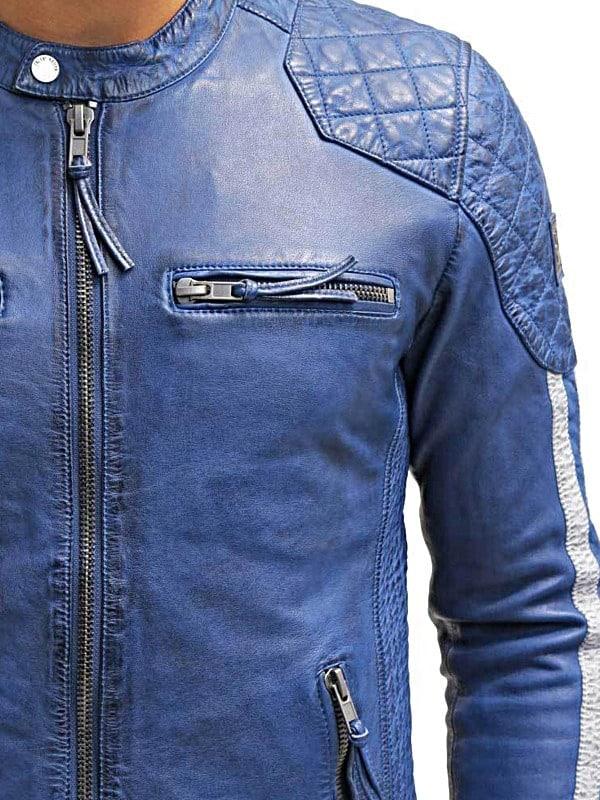 Mens Cafe Racer Leather Biker Jacket Blue with White Stripes Side
