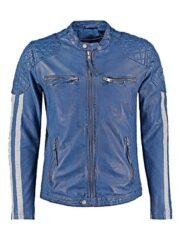 Mens Cafe Racer Leather Biker Jacket Blue with White Stripes Front