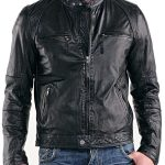 Mens Real Sheepskin Leather Cafe Racer Biker Jacket Black