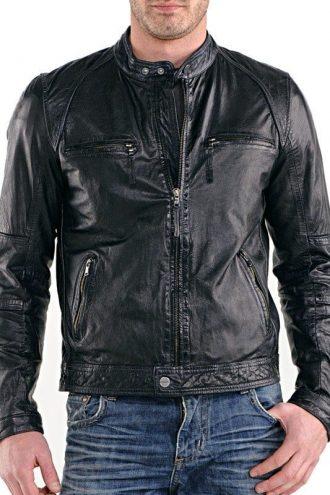 Mens Real Sheepskin Leather Cafe Racer Biker Jacket Black