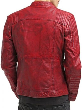 Mens Sheepskin Leather Cafe Racer Biker Jacket Red/Maroon Back