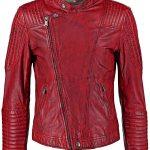 Mens Sheepskin Leather Cafe Racer Biker Jacket Red/Maroon Front