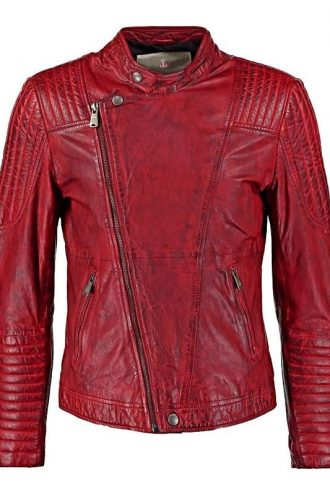 Mens Sheepskin Leather Cafe Racer Biker Jacket Red/Maroon Front