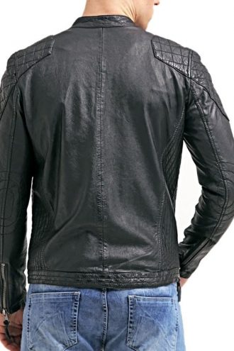 Mens Cafe Racer Leather Biker Jacket Black with White Stripes Back