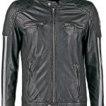 Mens Cafe Racer Leather Biker Jacket Black with White Stripes Front