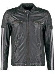 Mens Cafe Racer Leather Biker Jacket Black with White Stripes Front