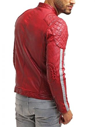 Mens Cafe Racer Leather Biker Jacket Red with White Stripes Back