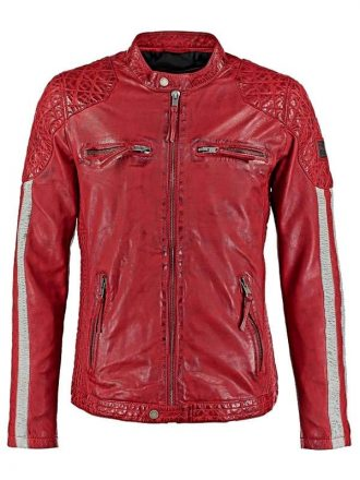Mens Cafe Racer Leather Biker Jacket Red with White Stripes Front