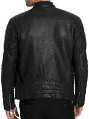 Mens Cafe Racer Sheepskin Leather Biker Jacket Black BACK