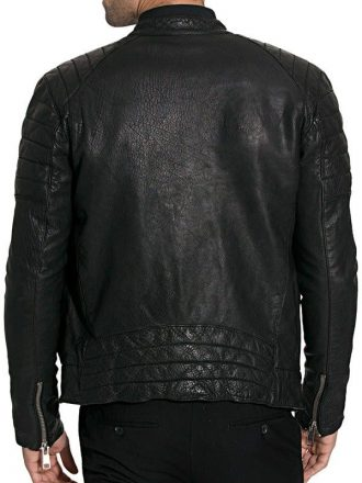Mens Cafe Racer Sheepskin Leather Biker Jacket Black BACK
