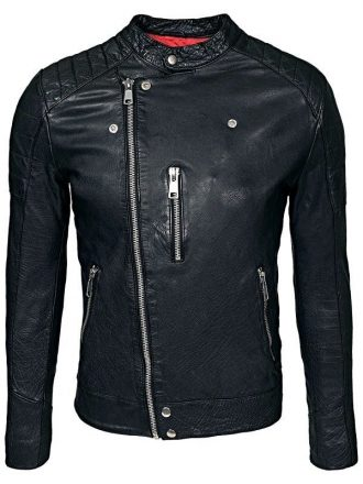 Mens Cafe Racer Sheepskin Leather Biker Jacket Black FRONT