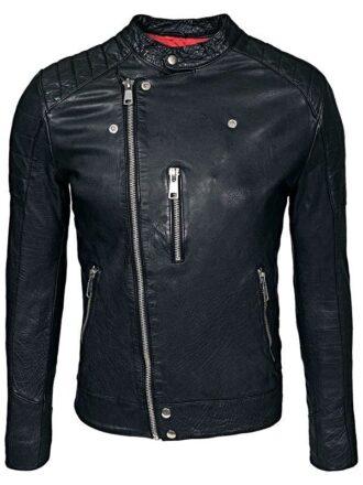 Mens Cafe Racer Sheepskin Leather Biker Jacket Black FRONT