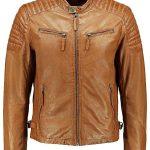 Mens Quilted Leather Cafe Racer Biker Jacket Tan Brown Front
