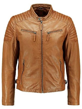 Mens Quilted Leather Cafe Racer Biker Jacket Tan Brown Front