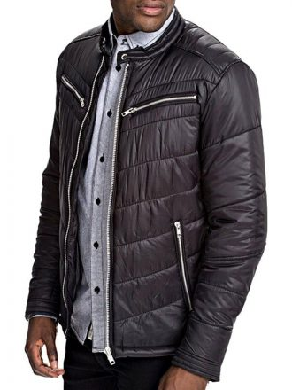 Mens Cordura Bomber Jacket Black Front