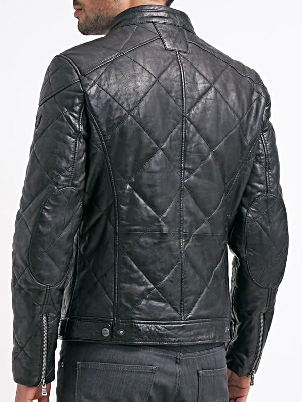 Mens Diamond Quilted Real Sheepskin Leather Jacket Black Back