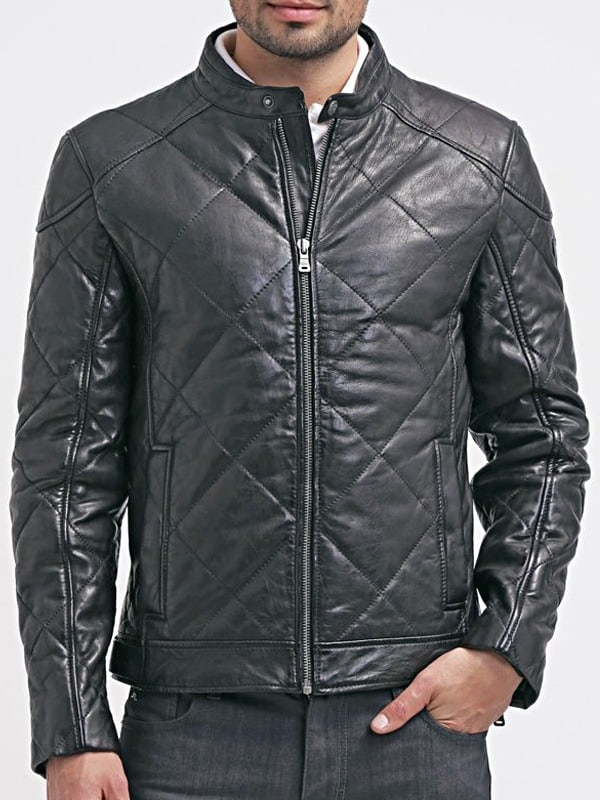 Mens Diamond Quilted Real Sheepskin Leather Jacket Black Front