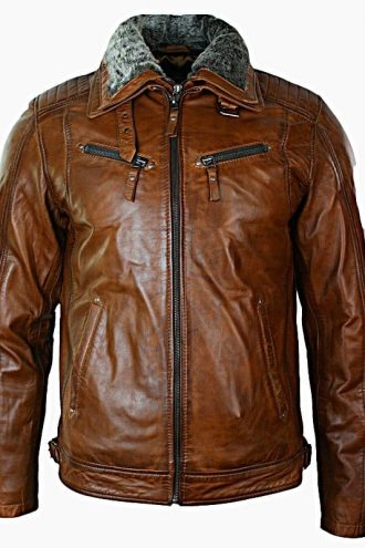 Mens Distressed Leather Biker Jacket Belted Brown Fur Collar Front