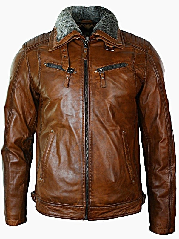 Mens Distressed Leather Biker Jacket Belted Brown Fur Collar Front