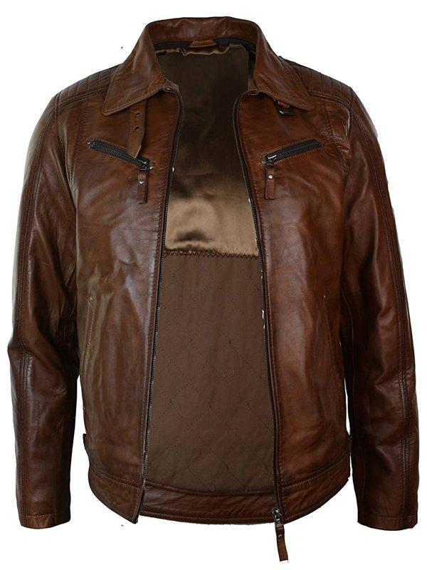 Mens Distressed Leather Biker Brown Fur Collar