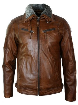 Mens Distressed Leather Biker Jacket Belted Brown Fur Collar