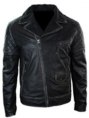 Mens Distressed Leather Motorcycle Jacket Black Front