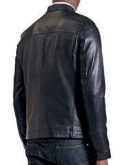 Mens Sheepskin Fashion Leather Jacket Decent Black Back