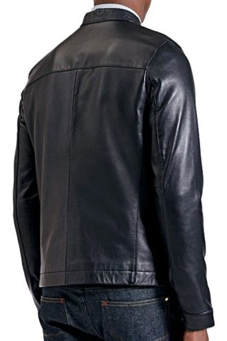 Mens Sheepskin Fashion Leather Jacket Decent Black Back