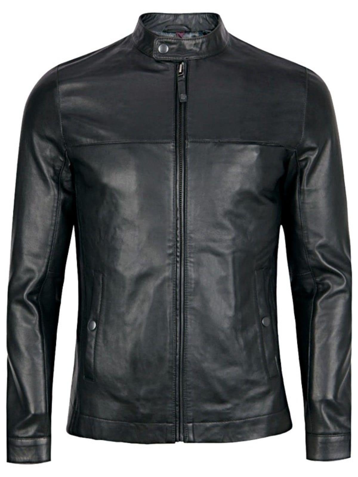 Mens Sheepskin Fashion Leather Jacket Decent Black Front