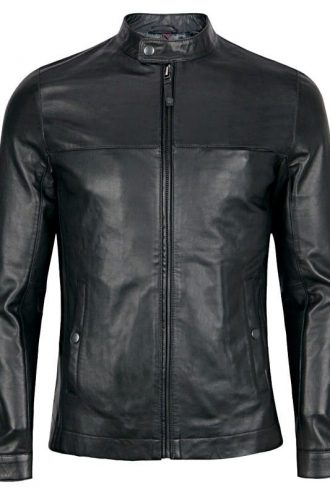 Mens Sheepskin Fashion Leather Jacket Decent Black Front