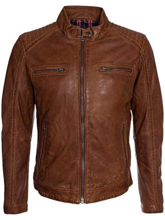 Mens Fashion Waxed Sheepskin Leather Jacket Brown FRONT
