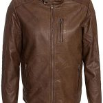 Mens Waxed Sheepskin Fashion Leather Jacket Camel Brown