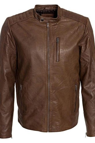Mens Waxed Sheepskin Fashion Leather Jacket Camel Brown