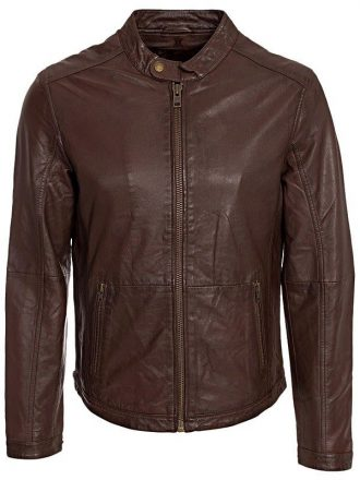 Mens Waxed Sheepskin Fashion Leather Jacket Elegant Brown