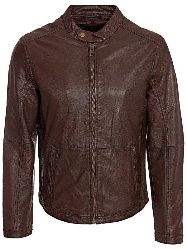 Mens Waxed Sheepskin Fashion Leather Jacket Elegant Brown