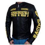 Ferrari Leather Motorcycle Jacket Black