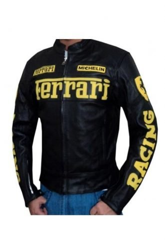 Ferrari Leather Motorcycle Jacket Black
