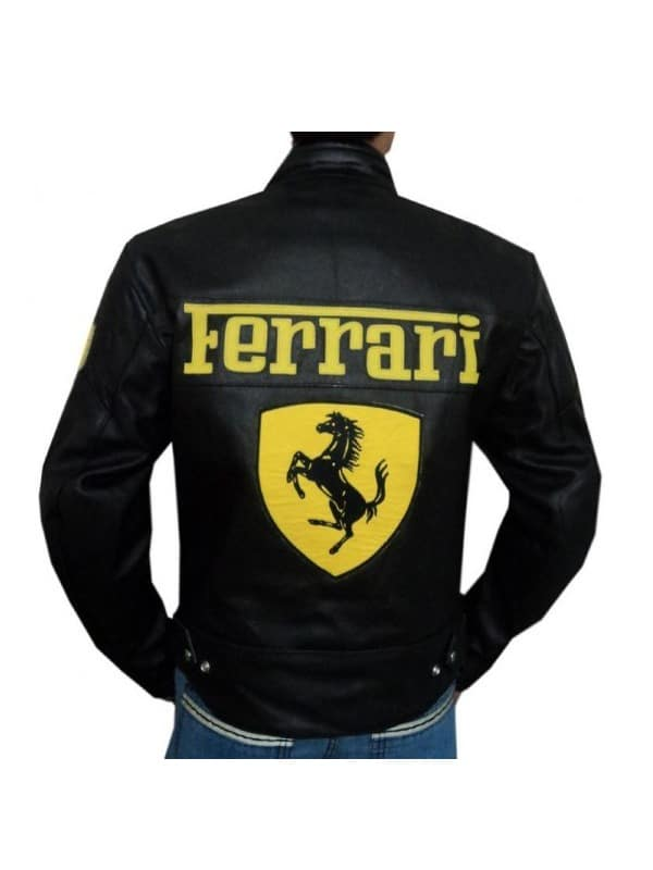 Mens Ferrari Leather Biker Jacket Black