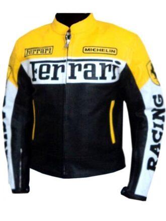 Ferrari Leather Motorcycle Jacket Yellow